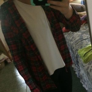 Plaid flannel coat with hoodie